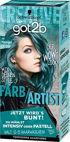 Schwarzkopf Got2b Kleur/Artist haarkleur, 097 mermaid groen, 3-pack (3 x 80 ml)