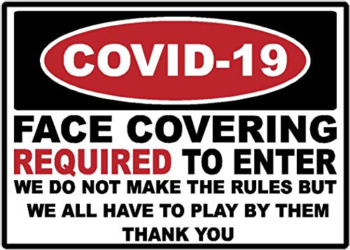 Safety | Covid-19 | Face Covering Mask Required to Enter Sign | Warning | Decal | Sticker | Coronavirus | Made in Texas USA | (10 x 7)