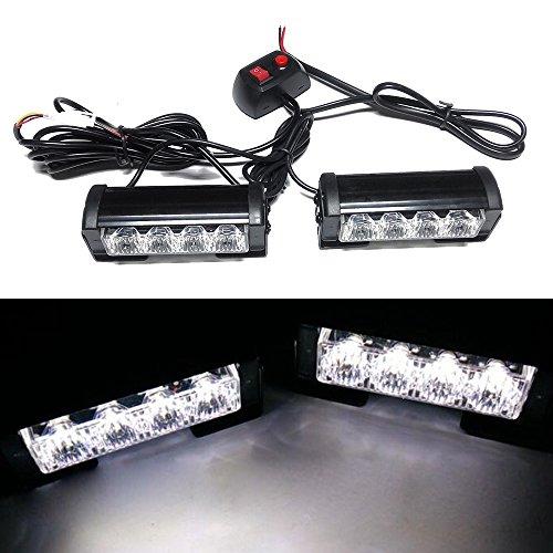 Viktion 8W 2 * 4 LEDs Feux de Pénétration Lumière Stroboscopique Eclairage Clignotant à 7 Modes pour Voiture Camion véhicule SUV Lampe pour Avertissement Urgence Secours Travaux DC12V (Blanc)