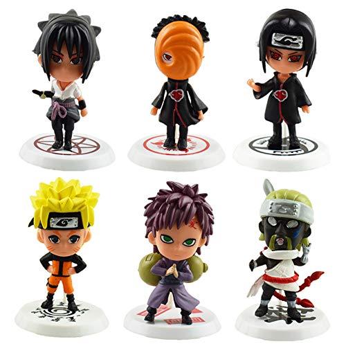 Naruto Cake Topper, FANDE 6 Stück Naruto-Figuren Modell Kuchen Dekoration Lieferungen Cake Topper für Geburtstag Party Kinder