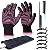 Heat Resistant Gloves for Hair Styling, ARRITZ Professional Curling Wand Gloves with Silicone Bumps Heat Proof Mat Pouch 6pcs Hiar Clips and 2pcs Combs for Flat Curling Iron