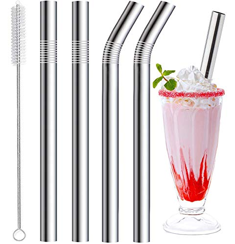 Vannise Stainless Steel Smoothie Straws, 0.4'' Extra Wide Reusable Metal Drinking Straws for Milkshake, Boba, Smoothie, Beverage, Set of 4 with 1 Cleaning Brush