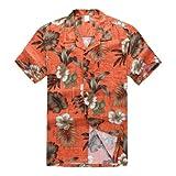 Palm Wave Hombres Aloha Camisa Hawaiana en Naranja Hibisco L