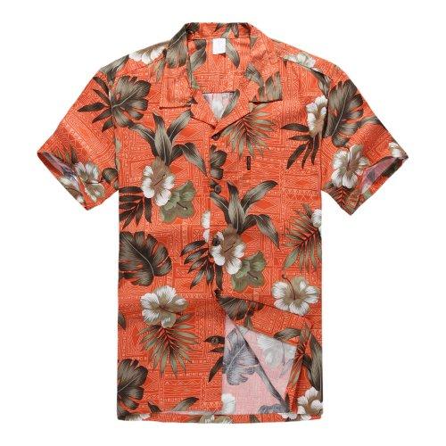 Palm Wave Hombres Aloha Camisa Hawaiana en Naranja Hibisco XL