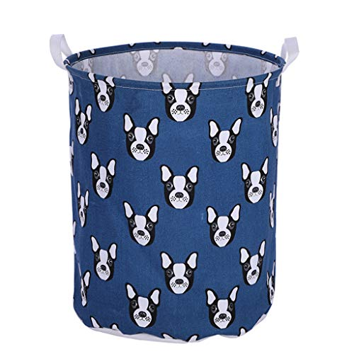 Fine Large Sized Waterproof Coating Cotton Fabric Folding Laundry Hamper Bucket, Cylindric Burlap Canvas Storage Basket Linen Toy Storage Bag (F)