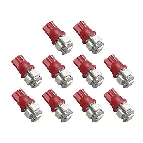 ZGMA 10pcs T10 Automatique Ampoules électriques 5 Clignotants For Universel Red
