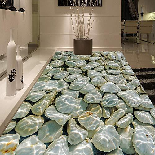 Fototapete Moderne 3D-Kiesel Wasserwellen Bodenfliesen Malerei Wandbilder Aufkleber Wohnzimmer PVC Wasserdicht tragen Tapete 3 D-300 * 210cm