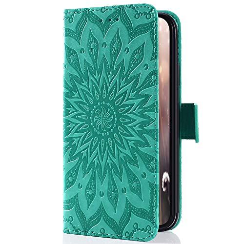 Uposao Kompatibel mit Handyhülle Galaxy A3 2015 Leder Tasche Schutzhülle Handy Tasche Schöne Mandala Blumen Muster Ledertasche Leder Hülle Bookstyle Klapphülle Flip Case Cover,Grün