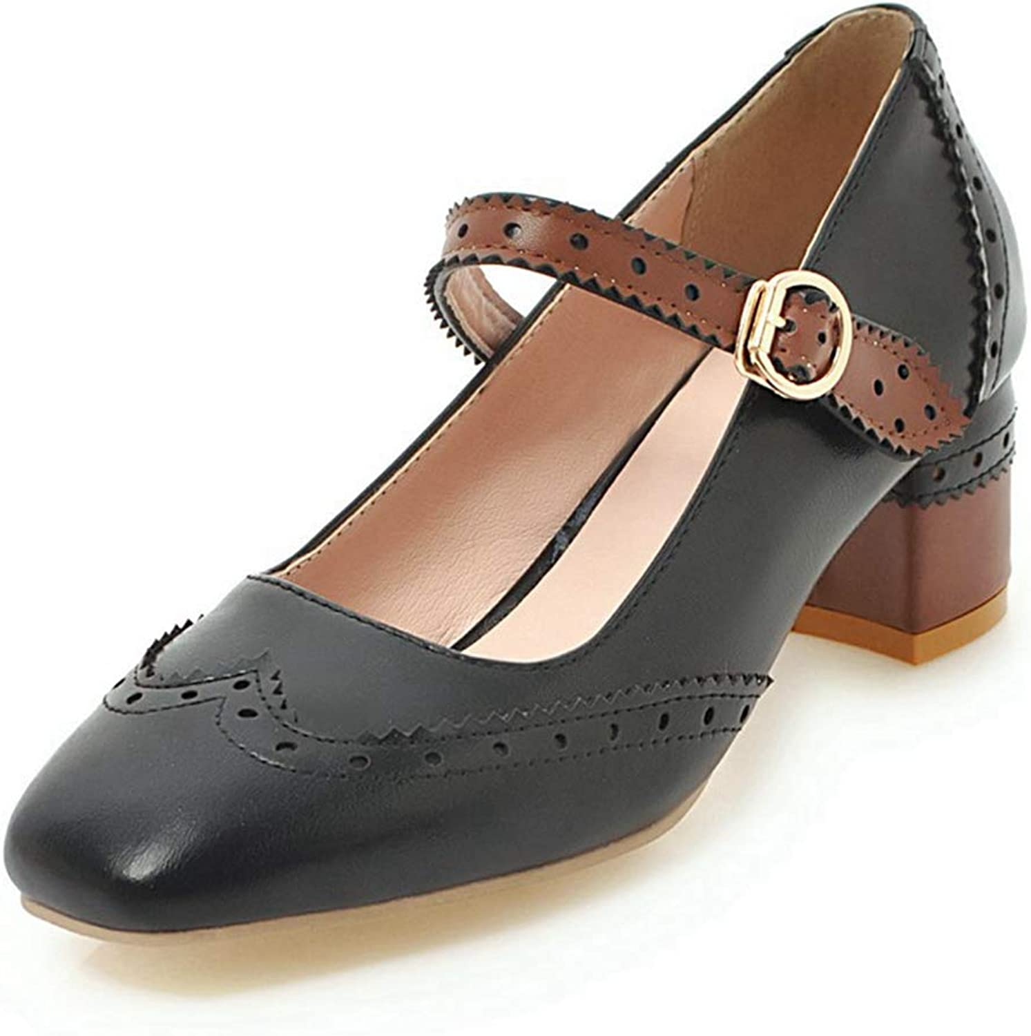 CYBLING Women's Mary Jane Oxford Pumps Retro Round Toe Ankle Strap Wing Tip Dress shoes