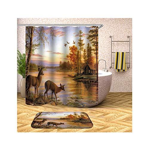 Bishilin 90x180 Polyester-Stoff 3D Duschvorhang Vintage Herbst Landschaft 2 Hirsch Badematte WC Vorleger 40x60, Badezimmerteppich Set 2 Stück
