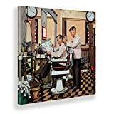 Giallobus - Quadro - The Saturday Evening Post - Barbiere Taglia i Capelli - Tela Canvas - 100x100 - Pronto da Appendere - Quadri Moderni per la casa - Vintage - retrò