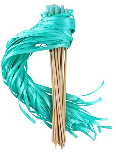 Wishprom Ribbon Wands Sticks Streamers for Wedding Party Favor (Green-30PCS)