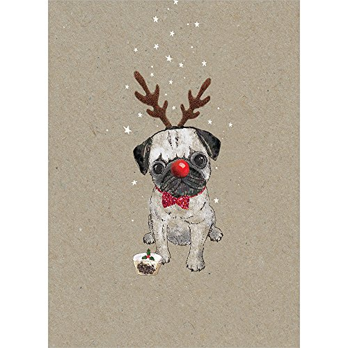 Tree-Free Greetings Holiday Greeting Cards, Pug Happy Christmas, Vintage Brown Recycled Paper, Boxed Note Card Set, 10-Pack (HB93301)