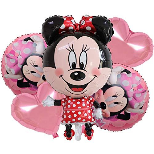YUESEN Minnie Globos de papel de aluminio Minnie Decoración de cumpleaños para niños Globo de cumpleaños Globos de helio Juego de decoración 5PCS