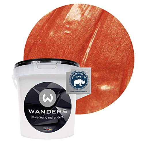 Wanders24® Metall-Optik (1 Liter, Kupfer) Wandfarbe Metallic - zum Spachteln im Metallic Look - in 17 edlen Farbtönen erhältlich - Made in Germany