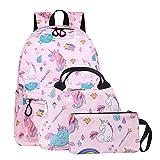 SEDEX Mochila Escolar Unicornio Niña Infantil Adolescentes Sets de Mochila Backpack Casual Set con Bolsa del Almuerzo y Estuche de Lápices Rosa