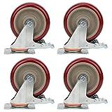 4 ruedas giratorias de 100 kg para muebles, ruedas industriales, ruedas para muebles giratorios