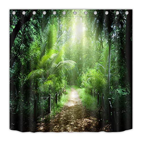FGHJK Foresta pluviale Tropicale Sentiero Verde Tenda da Doccia Impermeabile WC Decorazione Bagno