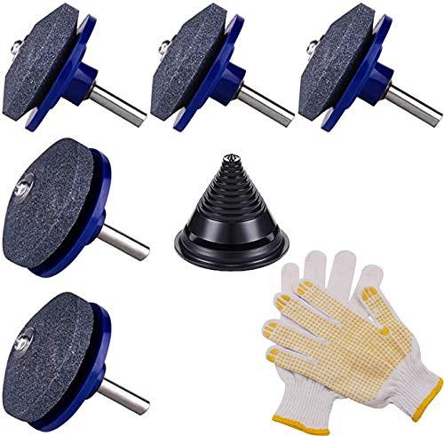 5 piezas de afilador de cuchillos, afilador con 1 par de guantes y 1 pieza de cortacésped, juego de balanceo de cuchillos, para cortacésped, herramientas de jardín para taladros de mano