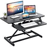 Perlegear Standing Desk Converter, 35 inch Height AdjustableTabletop Workstation, Gas Spring Dual Monitor Sit Standup Riser with Removable Keyborad Tray for Home Office