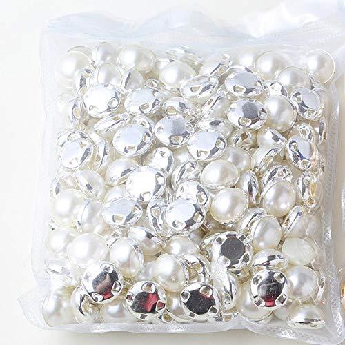 6 mm, 8 mm, 10 mm, 12 mm naakralen voor jurken met goudkleurige klauw/klauw met kunstdiamanten bezet, ronde parelknop voor het naaien van stenen.