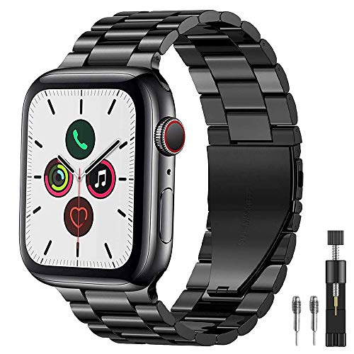 PUGO TOP Cinturino Replacement for Apple Watch Series 4 3 2 1, Cinturino in Acciaio Wrist Band per Apple Watch -Nero 42mm/44mm