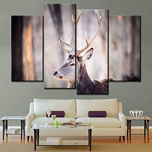 WSNDGWS Home Decoration viervoudige dier eland Hd Decoratief schilderij zonder fotolijst 50x50cmx3 F4.
