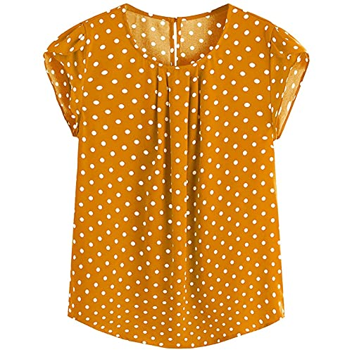CHIYANG Casual Women's Clothing, Casual Polka Dot Print Cap Sleeve Blouse for Blouse Button Keyhole Back, Casual Cotton Blouses Tops Elastic T-Shirts,Yellow,XL