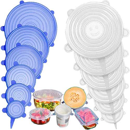 Stone TH Tapas de Silicona Elásticas, 12 Tapas Silicona Ajustables Cocina, Reutilizable Fundas para Alimentos Tapa Tazas, Boles o Tarros, Lavavajillas, Refrigerador (Base)