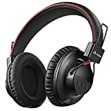1Mii Long Range Bluetooth 5.0 Headphones with aptx Low Latency, Bluetooth Headphones for TV Watching, Wireless On Ear Headphones with Mic, Deep Bass, 24 Hours Playtime for PC, Cell Phones (Black)