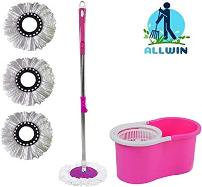 ALLWIN's Home Cleaning 360° Spin Floor Cleaning Easy Advance Tech Bucket PVC Mop & Rotating Steel Pole Head with 3 Microfiber Refill Head (Pink)