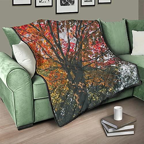 AXGM Colcha de otoño, manta cálida para dormitorio blanca, 130 x 150 cm