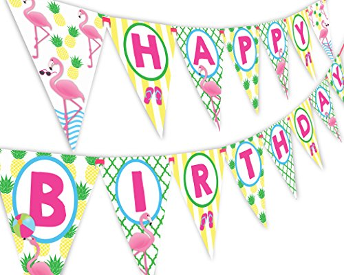 POP parties Flamingo Pineapple Happy Birthday Banner Pennant - Flamingle Party Banner