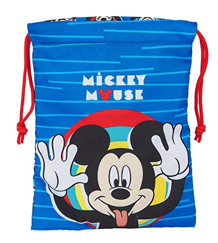 Safta Saquito Merienda Lunch Bag de Mickey Mouse Me Time, 200x250mm, azul/rojo, m