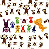 AAG Mix Colored Monkey Figures, 50 Tiny Plastic Monkey Figures Party Favors