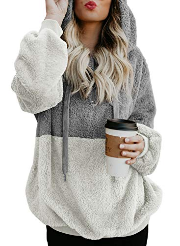 Dokotoo Womens Fleece Hoodies Plus Size Cozy Oversized Chunky Color Block Zip Front Winter Fuzzy Sweatshirt Loose Pullover Outerwear with Pockets X-Large Grey White