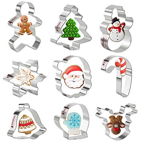 Olywee Lot de 9 emporte-pièces de Noël en acier inoxydable, Motif étoile de Noël, Sapin de Noël, Bonhomme en pain d'épices, Flocon de neige, Ange, Cloche, Décoration pour la pâtisserie