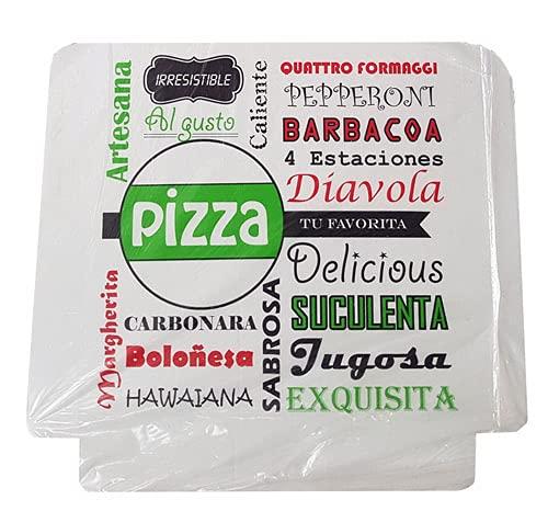 Cajas para pizzas en cartón kraft biodegradable y compostable diseño pizzas. Pack 100 cajas (30x30x4 cm)