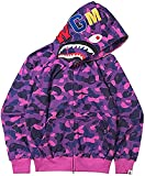 Cheap Men's Hoodie Bape hip hop Bathing Ape Shark Head Thin Coat Full Zipper Camouflage Purple Jacket Cool Couples Sweatshirts