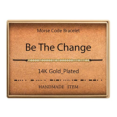 SANNYRA Morse Code Bracelet 14k Gold Plated Beads on Silk Cord Secret Message Be The Change Bracelet Gift Jewelry for Her