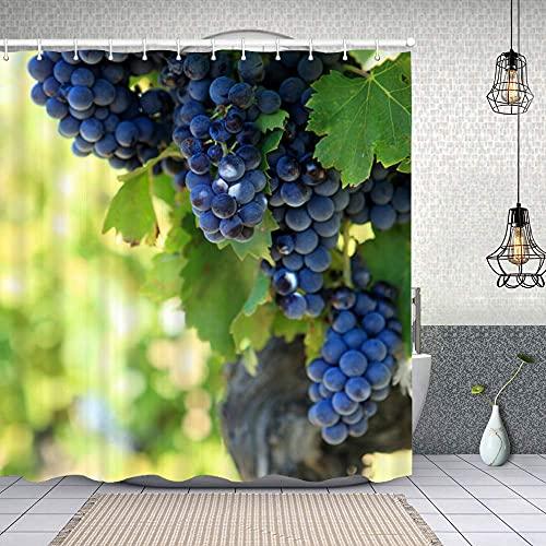 Cortina de Baño con 12 Ganchos,Uvas de Vino Tinto Cabernet Sauvignon viñedo francés,Cortina Ducha Tela Resistente al Agua para baño,bañera 180X180cm