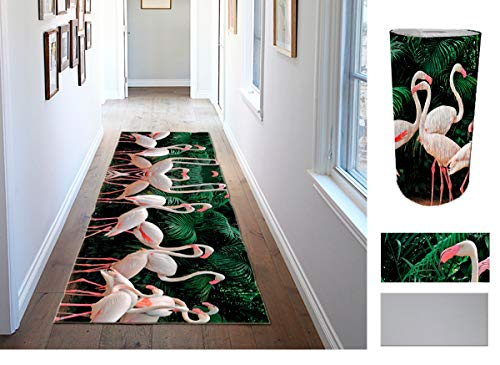 Comercial Candela Alfombra de Pasillo de Textil Resinado Antimanchas, Lavable | Base PVC Antideslizante y Aislante Diseño Flamencos (52_x_100 CM)
