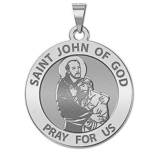 PicturesOnGold.com Saint John of GOD Religious Medal - 3/4 Inch Size of a Nickel -Sterling Silver