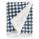 Super Soft Plush Baby Blanket, Receiving Blanket for Boys, Girls, Newborns, Crib, Toddlers, Nursery, Bedding (Plaid Blue/Grey, 30 x 40 Inch)