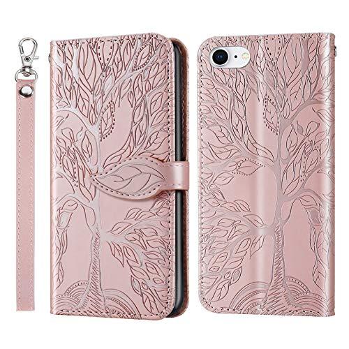 AsWant Funda para iPhone SE 2/iPhone 7/iPhone 8, diseño de árbol en relieve, de piel sintética, con tapa, cierre magnético, función atril, color oro rosa