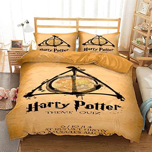 Juego De Ropa De Cama Harry Potter Funda Nordica 220X260 Cm 100% Poliéster con Cremallera con 2 Fundas De Almohada 50X90 Cm Adecuado para Cuatro Estaciones.