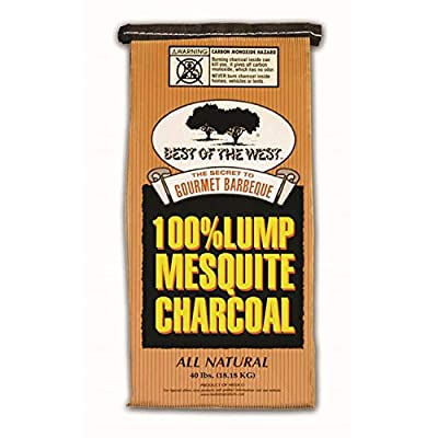 Best of the West Premium Mesquite Natural Hardwood Lump BBQ Grill Smoker Charcoal Briquettes, 40 Pounds