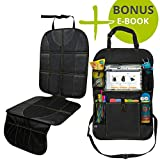 "VolkGo Car Seat Protector and Organizer Set – Kick Mat – Multi Pocket Organizer – 10"" Android or iPad Tablet Pouch – Easy to Install & Clean – Strong & Resilient – Non Slip Back"
