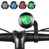 Lurowo Bicycle Speedometer LCD Display Wireless Bike Computer Odometer Waterproof Bike Pedometer Cycling Speed with Meter Extension Holder (Round)