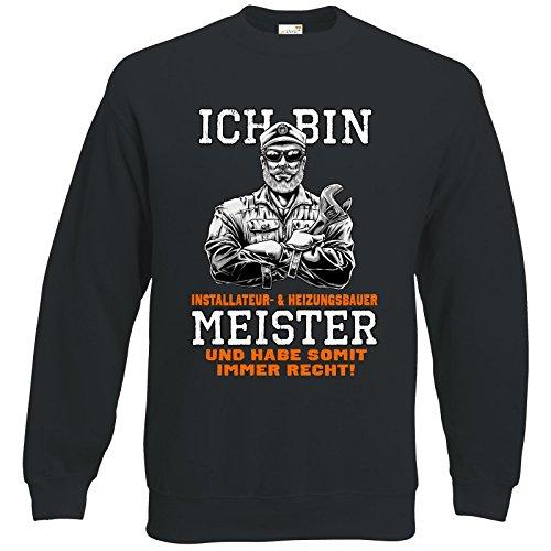 getshirts - Rahmenlos® Geschenke - Sweatshirt - Ich Bin Installateur & Heizungsbauer Meister - schwarz XXL